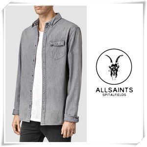 NWOT All Saints Merrimack Denim Shirt Gray